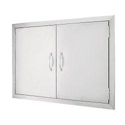 Happybuy BBQ Access Door 30.5″W x21″H Double BBQ Island Door 304 Stainless Doors Dou ...