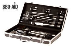 16 piece pc BBQ grilling accessories set – bbq grill brush tongs spatula fork skewers corn ...