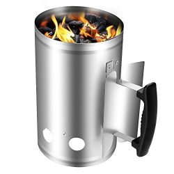 Large Charcoal Chimney Starter Grill Barbecue BBQ Galvanized Steel Chimney Lighter Basket Outdoo ...