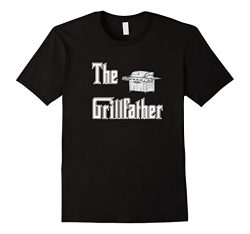 Mens The Grillfather with Propane Grill BBQ T-shirt XL Black