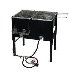 Camping Stove 2 Burner Basket Propane LPG Gas Double Deep Fryer Cooker Outdoor