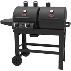 Char-Griller Dual 2 Burner Charcoal and Gas Grill with Stainless Steel Heat Gauges and Cast Iron ...