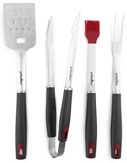 Grillaholics Grill Set – 4-Piece BBQ Tools – Heavy Duty Stainless-Steel Barbecue Gri ...