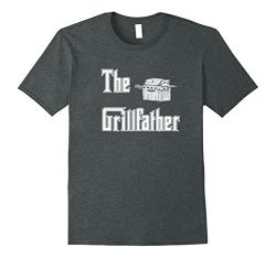 Mens The Grillfather with Propane Grill BBQ T-shirt Large Dark Heather