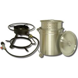 King Kooker 5012 Portable Propane Outdoor Boiling and Steaming Cooker Package with 50-Quart Alum ...