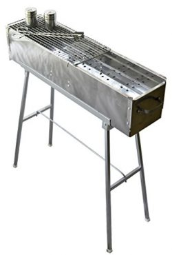 """Party Griller 32"""" Stainless Steel Charcoal Grill – Portable BBQ Grill, Yakitori Grill, Kebab Gri ..."""