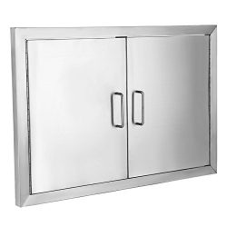 BestEquip Double BBQ Island 304 Stainless Door Double Access BBQ Door 19x28inch Double Door Flus ...