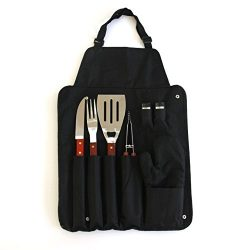 7-Piece BBQ Grilling Tools Set with Apron- Portable Outdoor Barbecue Accessories Utensil Set