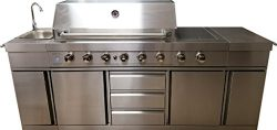 3 in 1 Island 8 Zone BBQ Outdoor Electric Grill Kitchen, Propane or Natural Gas, with Sink, Side ...