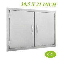 Mophorn BBQ Door 30.5″W x21″H Double BBQ Island Door 304 Stainless Doors Rust Resist ...