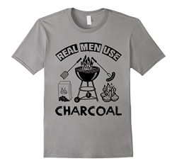 Real Men Use Charcoal BBQ Grill Master Cook Funny Chef Shirt