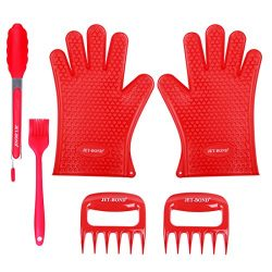JET-BOND Silicone BBQ Tool Set Grilling Oven Mitts Gloves Meat Claws Tongs Brush Cooking Accesso ...