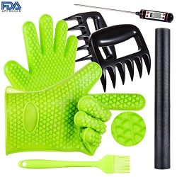 BBQ Grill Oven/Cooking Gloves-Meat Claws Set – Targher 5 in 1 BBQ Set with Silicone Gloves ...