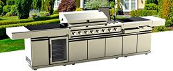 BBQ Gas Grill 12 Ft Island Outdoor 72,000 BTU 8 Burners Rotisserie Modular Sink Station Wine Coo ...