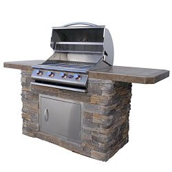 Cal Flame Bistro 470-AS Cultured Stone BBQ Island with 4 Burner Grill, 7'/Medium