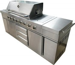 7 Foot BBQ Gas Grill Barbecue 8 Burner Zones 96,000 BTU's Rotisserie Sink Cabinet Stainles ...