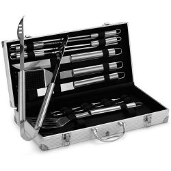 VonHaus 18-Piece Stainless Steel BBQ Accessories Tool Set – Includes Aluminum Storage Case ...