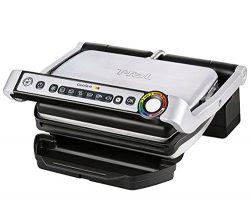 T-fal GC704 OptiGrill Stainless Steel Indoor Electric Grill with Removable and Dishwasher Safe p ...