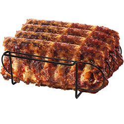 Sorbus Non-Stick Rib Rack – Porcelain Coated Steel Roasting Stand – Holds 4 Rib Racks for Grilli ...