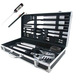 Teikis 19-Piece Grilling Accessories BBQ Tool Set Stainless Steel Storage Case + Thermometer