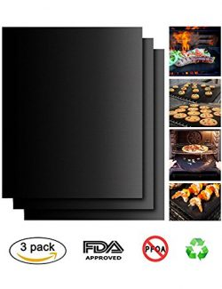 Peterivan Grill Mat Set of 3 – 100% Non Stick BBQ Grilling Mats – Heavy Duty 500F De ...