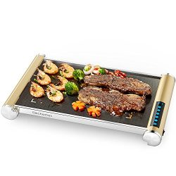 Electric Griddle with LED Touch Control – Elechomes Glass Ceramic Nonstick Grill/Griddle w ...