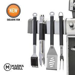 Yukon Glory Magnetic Grill Tool Set 4 Piece Stainless Steel Grilling, BBQ and Tailgating. Grilli ...