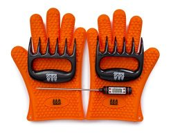 BBQ Gloves, Meat Claws and Digital Instant Read BBQ Thermometer (3 pc set) – Heat Resistan ...