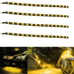 30cm 12V SMD 15 LED Car Trucks Moto Grill Flexible Waterproof Light Strips (Yellow,2pcs)