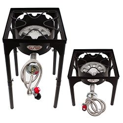 GAS ONE Portable Propane 200,000-BTU Outdoor Beer Brewing Single-Burner with Adjustable Height,  ...