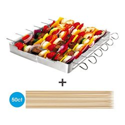 """Unicook Heavy Duty Stainless Steel Barbecue Skewer Shish Kabob Set, 6pcs 13""""L Skewer and Foldabl ..."""