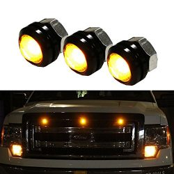iJDMTOY 3pc SVT Raptor Style Amber High Power LED Grille Lighting Kit, Universal Fit For Any Tru ...