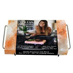 VOLTAS Himalayan Salt Block for Cooking, FDA approved 12×8 (96 sq. inch) Salt Slab comes wi ...