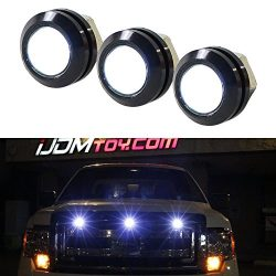 iJDMTOY 3pc SVT Raptor Style White High Power LED Grille Lighting Kit, Universal Fit For Any Tru ...