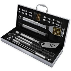 BBQ Grill Tools Set with 16 Barbecue Accessories – Stainless Steel Utensils with Aluminium ...
