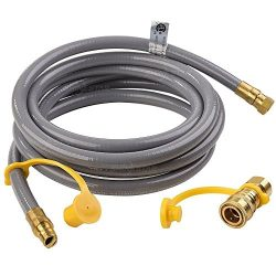 SHINESTAR 12feet Natural Gas Quick Connect / Disconnect Hose Assembly for BBQ Grill- 50,000 BTU  ...