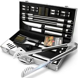 BBQ Grill Utensil Tools Set – GRILLART Reinforced BBQ Tongs 19-Piece Stainless-Steel Barbe ...