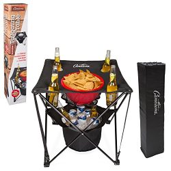 Tailgating Table- Collapsible Folding Camping Table with Insulated Cooler, Food Basket and Trave ...
