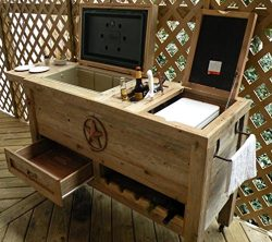 Outdoor Patio Cooler Bar – Wooden Rustic Kitchen Furniture – Grilling Prep Station o ...