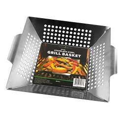 Vegetable Grill Basket By HomEco, Professional Grade 430 Stainless Steel Wok, Meat Grilling Bask ...