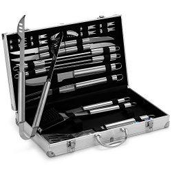 VonHaus 24-Piece Stainless Steel BBQ Accessories Tool Set – Includes Aluminum Storage Case ...