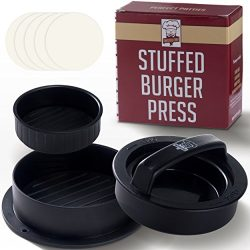 Non Stick Hamburger Press Patty Maker + 40 Wax Paper Discs, Easy to Use, Dishwasher Safe, Works  ...