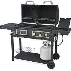 Durable Outdoor Barbeque & Burger Gas/charcoal Grill Combo Comes with a Chrome Plated Warmin ...