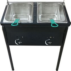 Bioexcel Outdoor Two Tank Fryer compatible with Propane Gas Tanks, comes with 2 Baskets & St ...