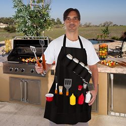EZ Drinker Black Grill Master Grill Apron and Accessory – Holds Beverages and Tools