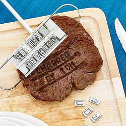 Harlov BBQ Meat Branding Iron with Changeable Letters Outdoor Picnic Patio Grilling Smoking Acce ...