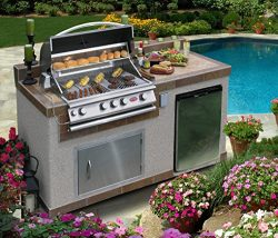 Cal Flame e6004 Outdoor Kitchen 4-Burner Barbecue Grill Island with Refrigerator