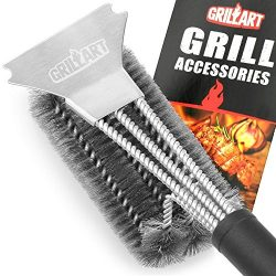 Grill Brush and Scraper – GRILLART Bristles 18″ Best BBQ Grill Brush – Stainle ...