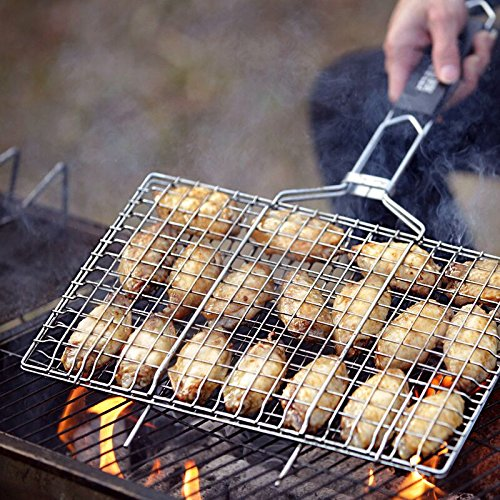 AIGMM Portable Stainless Steel BBQ Barbecue Grilling Basket for Fish ,Vegetables , Steak ,Shrimp ...