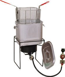 King Kooker 2866 Fry Bucket 14-Inch Outdoor Propane Cooker Package with 25-Quart Aluminum Pot an ...